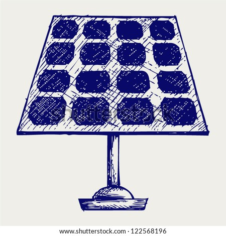 Solar Panel. Doodle style - stock vector