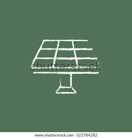 Solar panel hand drawn in chalk on a blackboard vector white icon isolated on a green background. - stock vector