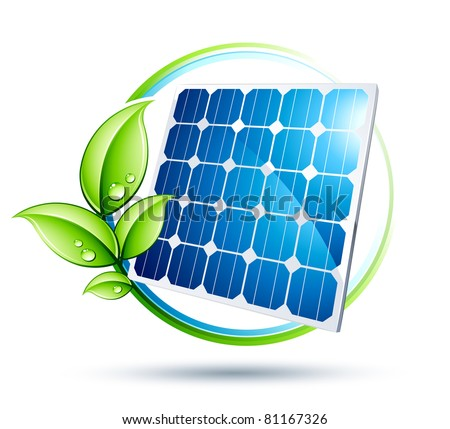 solar panel icon - stock vector