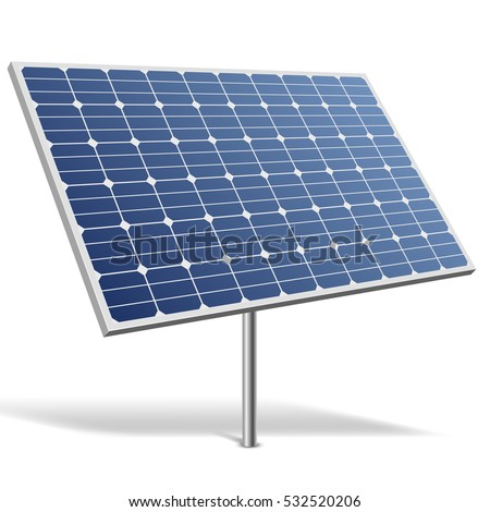 Solar panel isolated on white background vector illustration. Alternative renewable energy resource image.