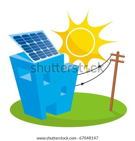 Solar panel on house roof connected to electricity pole - stock vector