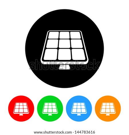 Solar Panel Solar Energy Icon with Color Variations - stock vector