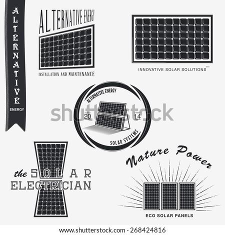 Solar Panels. Alternative Eco Energy. Set of Typographic Badges. Flat vector illustration - stock vector