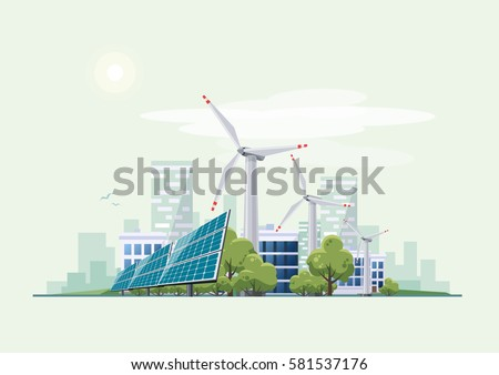 Solar panels and wind turbines in front of the city skyline in the background. Eco green city theme. Ecological sustainable energy supply.