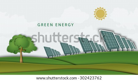 solar panels, batteries, on clean field. concept of clean energy - stock vector