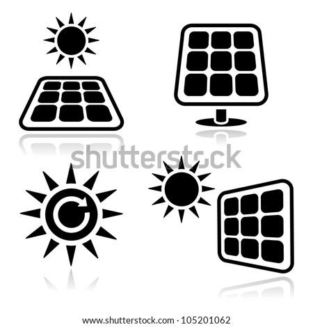Solar panels black icons set - stock vector