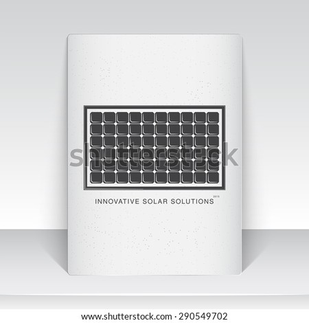 Solar panels for energy. Sustainable ecological solar energy generator powered by natural energy source. Old school of vintage label. Monochrome typographic labels, stickers, logos and badges. - stock vector