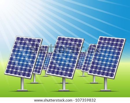 Solar panels on green field. Ecological concept, editable vector illustration.