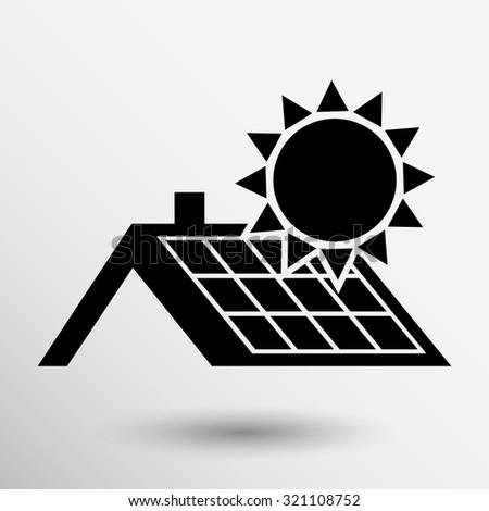 solar panels roof icon vector button logo symbol concept. - stock vector