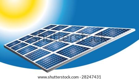 Solar pannels vector banner - stock vector