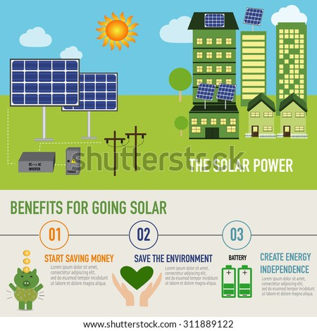Solar power benefit infographic vector. illustration EPS10. - stock vector