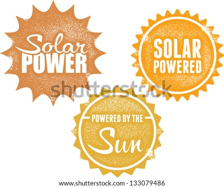 Solar Power Energy Stamps - stock vector