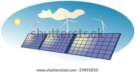 Solar power panels and wind turbine - stock vector