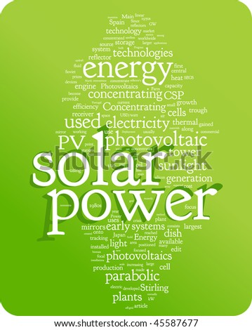 Solar power word cloud illustration. Graphic tag collection - stock vector