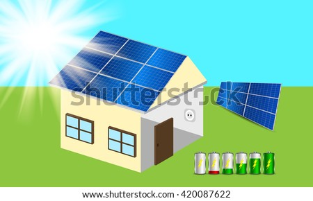 Solar powered house. Clean energy scheme. Vector  - stock vector