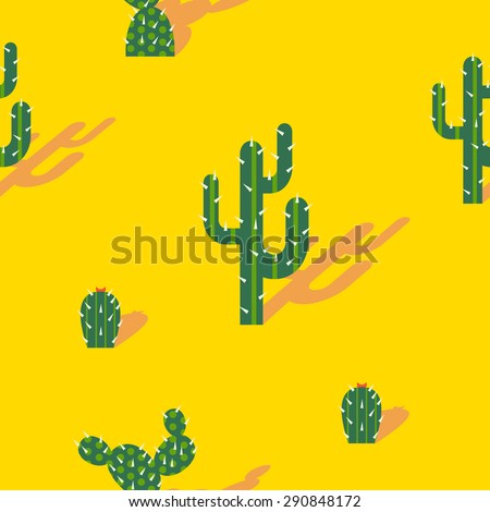 Solar seamless pattern with cactus in the desert, in a trendy flat style - stock vector