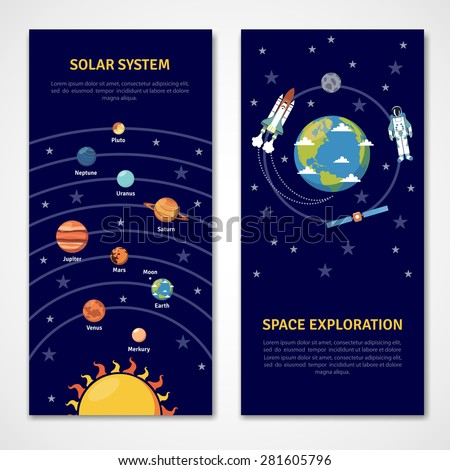 Solar system and space exploration concept isolated banners flat vector illustration - stock vector