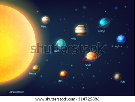 Solar system background with sun planets and outer space cartoon vector illustration  - stock vector