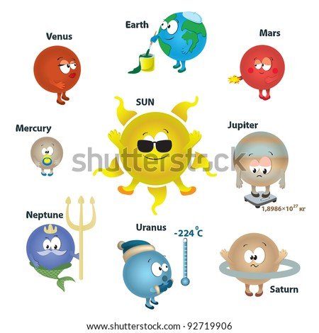 solar system for kids, card concept. planet isolated. vector illustration. - stock vector