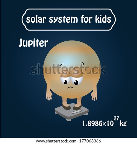 solar system for kids, childrens. Jupiter in cartooning style. funny, cute. vector illustration.  - stock vector