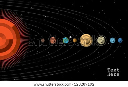 solar system in chart info graphic - stock vector