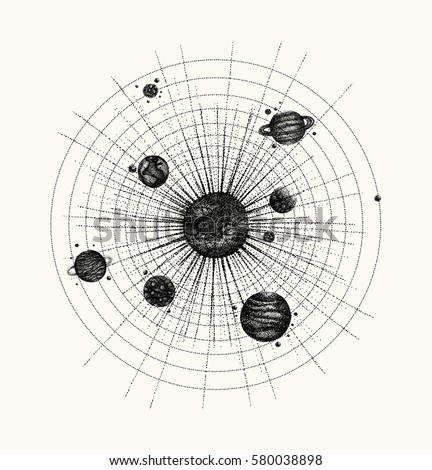 Solar system dotwork style planets orbit stock vector 580038898 solar system in dotwork style planets in orbit vintage hand drawn illustration ccuart Choice Image