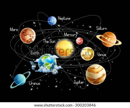 Solar system, isolated on black background vector - stock vector