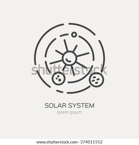 Solar system logo made in trendy line stile vector. Space series. - stock vector