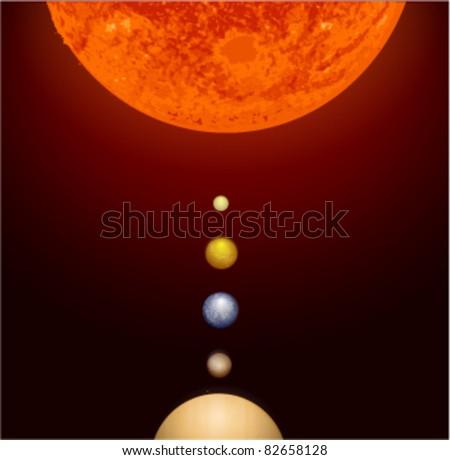 Solar System Vector - stock vector