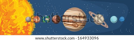 Solar system, vector illustration - stock vector