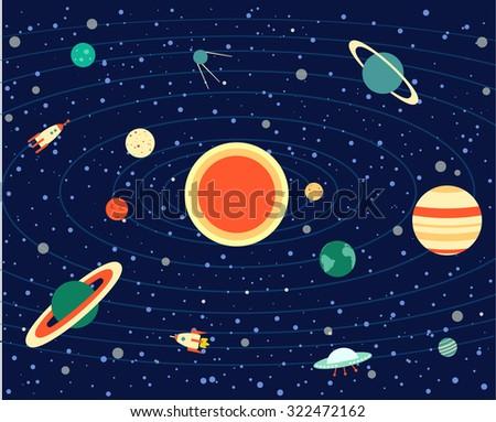 solar system, vector illustration, planets, Sun, Earth, Saturn, Venus, Uranus, Neptune, Pluto, Mars, Mercury, Jupiter, UFO, rocket, stars - stock vector