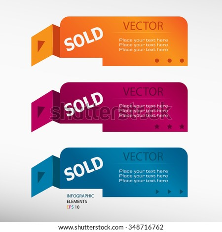 Sold message on origami paper banners. Can be used for workflow layout, diagram, business step options, banner, web design  - stock vector