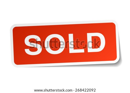 sold red square sticker isolated on white - stock vector