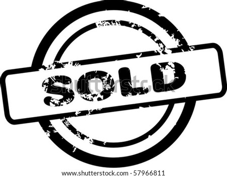 Sold rubber stamp - stock vector