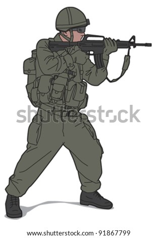 Soldier 1 - stock vector