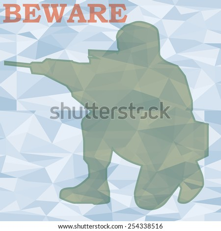 soldier aim action in polygon background - stock vector