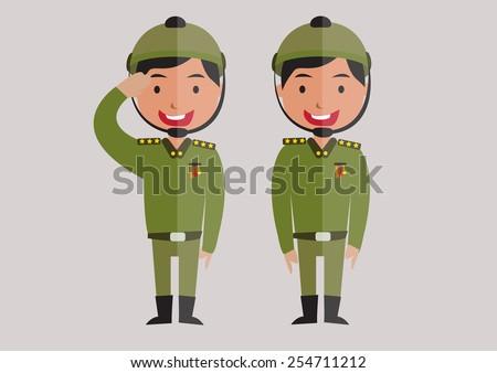 soldier cartoon - stock vector