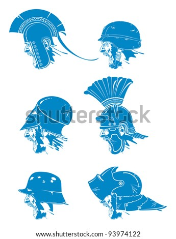 Soldier cry. Types of hats 1, vector - stock vector