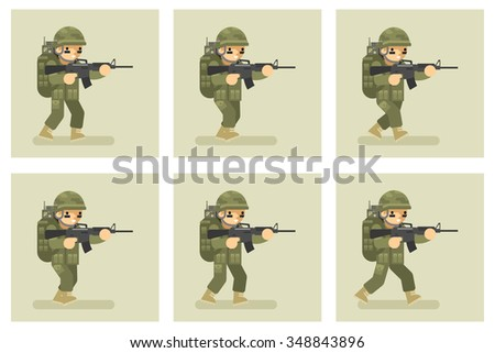 Soldier flat design run animation frames. Military army, man action in uniform, vector illustration - stock vector