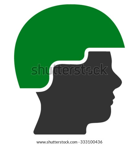 Soldier Helmet vector icon. Style is bicolor flat symbol, green and gray colors, rounded angles, white background.