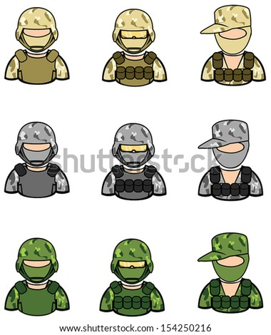 Soldier icon collection set 1, create by vector  - stock vector