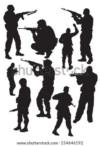 soldier in combat positions - stock vector
