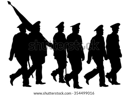 Soldier in uniform with flag on white background - stock vector