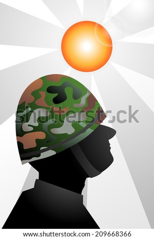 soldier on rising sun - stock vector