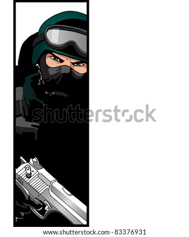 Soldier or policeman or special forces commando with pistol - stock vector