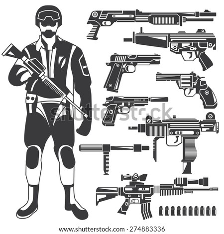 soldier, policeman, gun, weapon icons, commando, vector set - stock vector