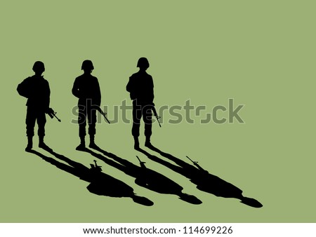 Soldier Silhouette with shadow - stock vector