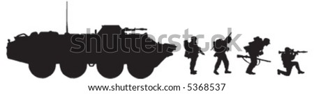 soldier, tank, rocket, gun - stock vector