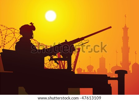 Soldier with a machine gun - stock vector