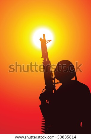 Soldier with a machine gun on sunset - stock vector